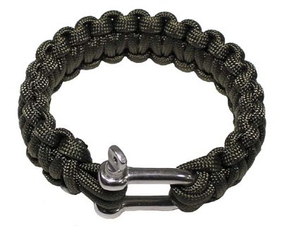 Braccialetto survival PARACORD verde con grillo
